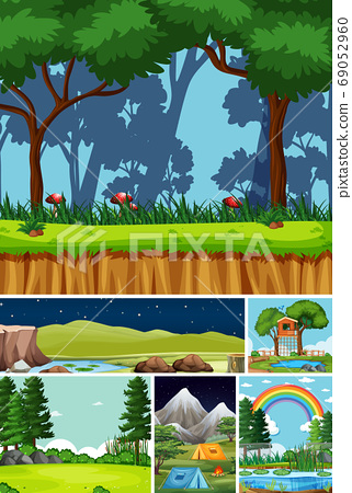 Six different scenes in nature setting cartoon 69052960