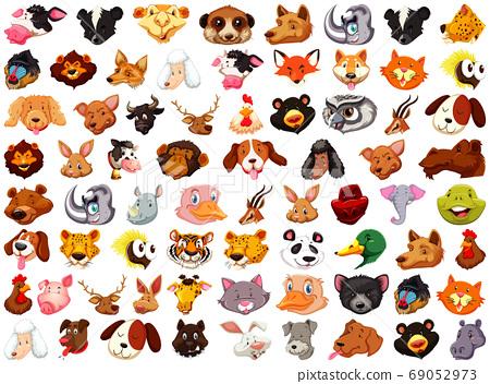 Set of different cute cartoon animals head huge 69052973