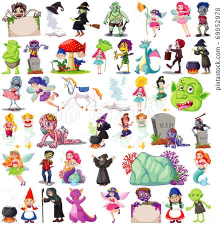 Set of fantasy cartoon characters and fantasy 69052978