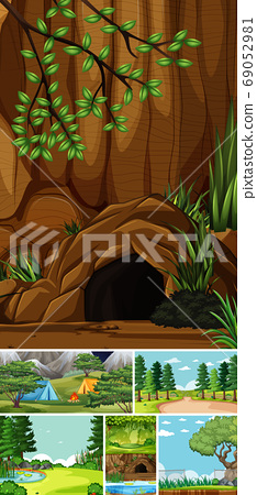 Six different scenes in nature setting cartoon 69052981