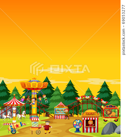 Amusement park scene at daytime with blank yellow 69053277