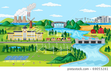 Manufactory and wind turbine and long river scene 69053281