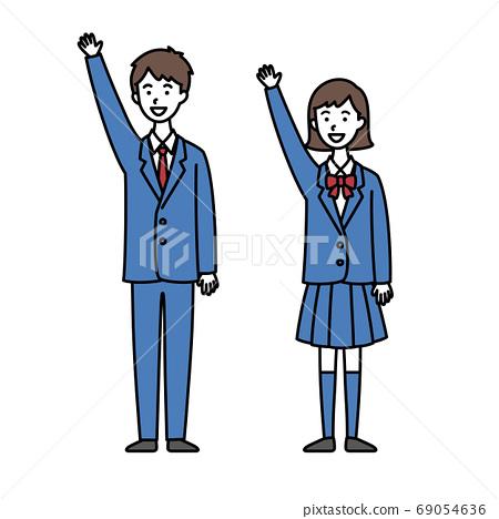 男女高中學生舉手 69054636