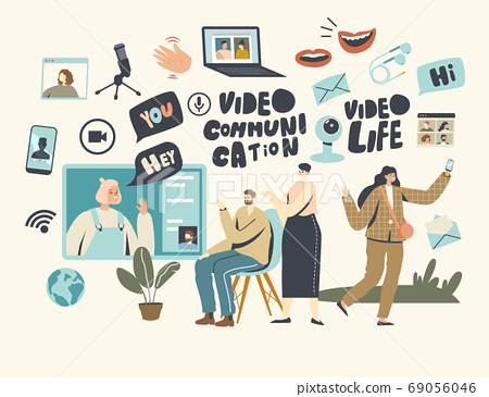 Characters Chat Online Concept. Video Communication, Internet Digital Technologies. Parents Communicate with Daughter 69056046