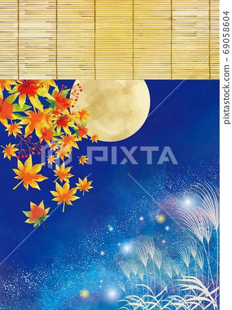 水彩風格十五晚背景素材 69058604