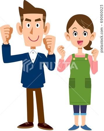膽小鬼構成的一對年輕夫婦的整個身體 69060025