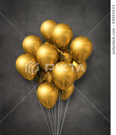 Gold air balloons group on a concrete background 69064633