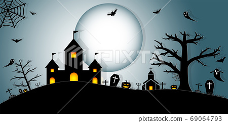 Halloween Night Concept Vector.paper art style. 69064793