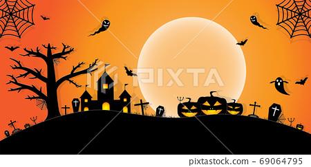 Halloween Night Concept Vector.paper art style. 69064795