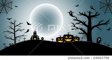 Halloween Night Concept Vector.paper art style. 69064796