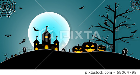 Halloween Night Concept Vector.paper art style. 69064798