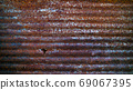 close up of old rusty zinc roof, grunge corrugated zinc texture background 69067395