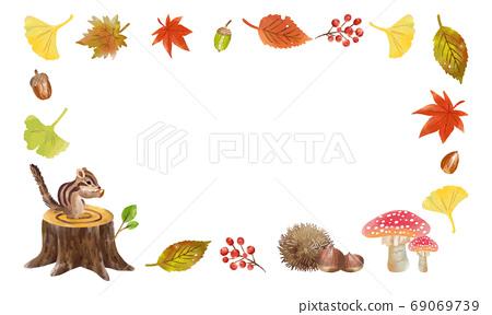 손으로 그린 수채화 목록 가을의 식물 프레임 01 69069739