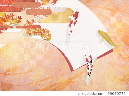 扇形和纸上的秋天的日本绘画 69070772