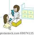 親子清潔和分離 69074135
