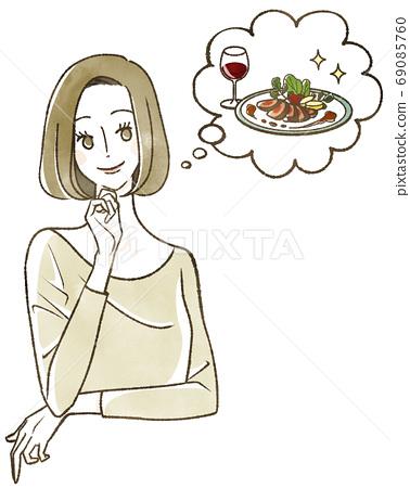 考慮食物的女人 69085760