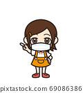 女孩指著面具 69086386