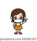 女孩指著面具 69086387