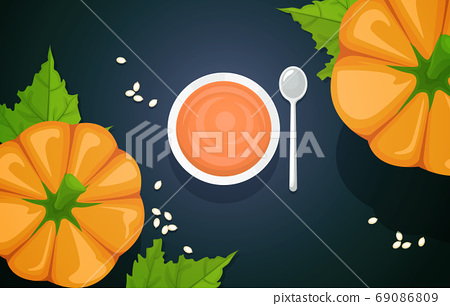 Pumpkin Food Photography Delicious Tasty Menu on Table Illustration 69086809