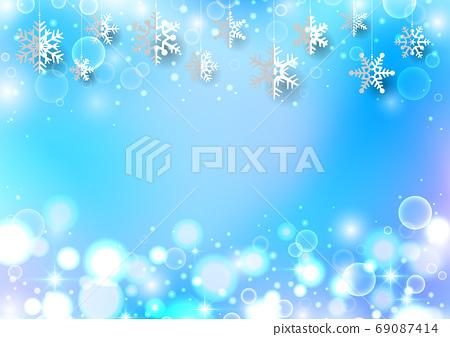 圣诞背景与垂悬的雪花 69087414