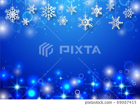 聖誕背景與垂懸的雪花 69087415