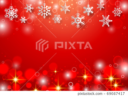 聖誕背景與垂懸的雪花 69087417