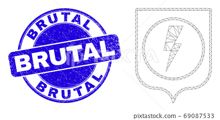 Blue Distress Brutal Stamp Seal and Web Mesh Electric Shield 69087533