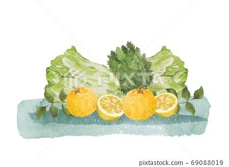 柚子和冬季蔬菜水彩 69088019