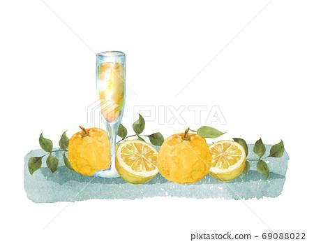 柚子和果汁水彩插圖 69088022