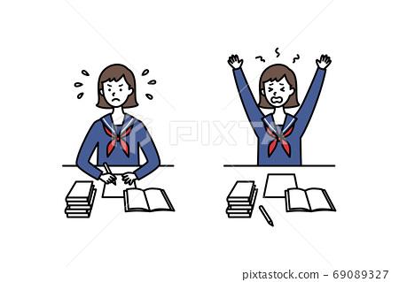 水手服的高中女生拼命學習 69089327