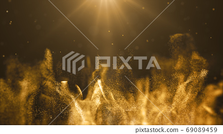 Gold color digital particles wave flow abstract technology backg 69089459