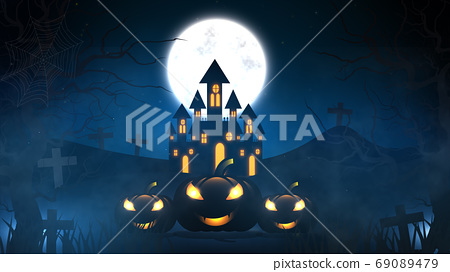 Halloween background with haunted house, bats and pumpkins, grav 69089479