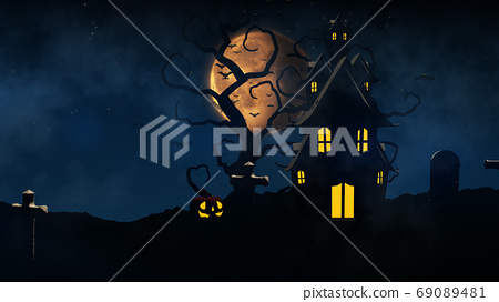 3D rendering Halloween background with haunted house, bats and p 69089481
