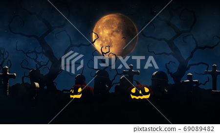 3D rendering Halloween background with haunted house, bats and p 69089482
