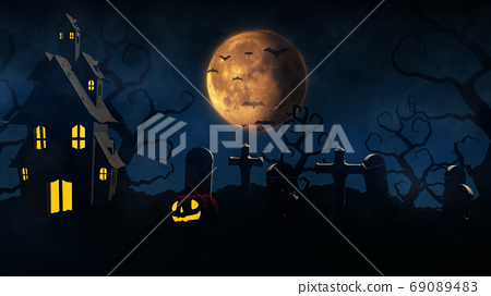 3D rendering Halloween background with haunted house, bats and p 69089483