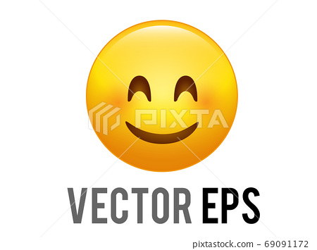 The vector isolated gradient yellow smiley sweet and shy face icon with red cheeks 69091172