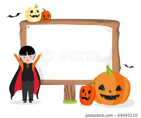 一個男孩和一個標誌打扮成萬聖節吸血鬼 69093210