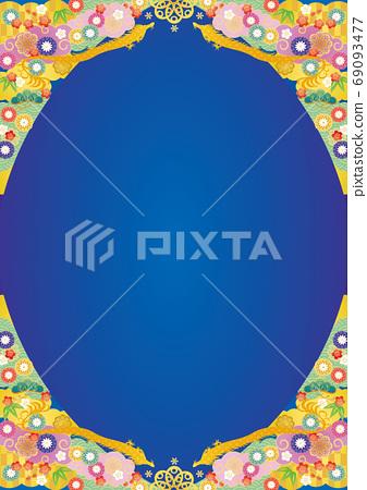 背景材料-龍和華麗的日本畫框2 69093477