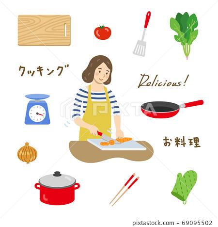 烹飪女人和炊具套 69095502
