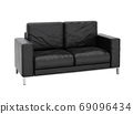 Sofa leather on white background with clipping path 3D illustrat 69096434
