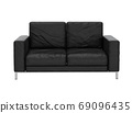 Sofa leather on white background with clipping path 3D illustrat 69096435