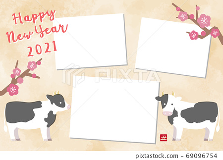 2021 ox year photo frame new year card template with cute cow illustration 69096754