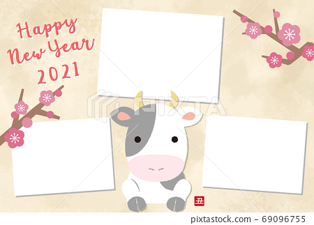 2021 ox year photo frame new year card template with cute cow illustration 69096755
