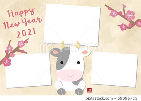 2021 년 소띠 귀여운 소 그림 액자 연하장 템플릿 69096755