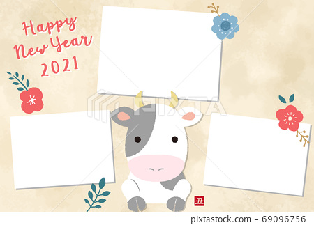 2021 ox year photo frame new year card template with cute cow illustration 69096756