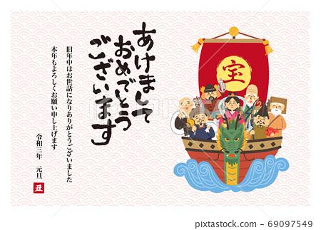 寶船上的七個幸運神的新年賀卡設計 69097549