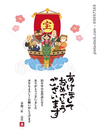 寶船上的七個幸運神的新年賀卡設計 69097569