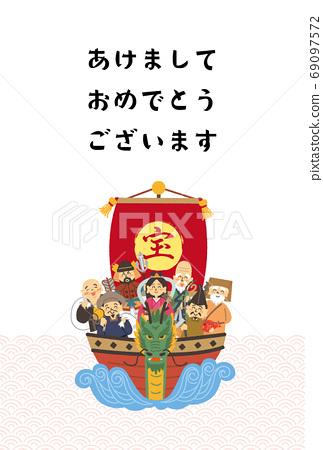 寶船上的七個幸運神的新年賀卡設計 69097572