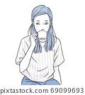 喝咖啡的年輕女性(上半身,女性,短袖,夏天) 69099693