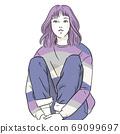 一個年輕的女人,她的膝蓋坐著(上半身,女性,長袖,冬天) 69099697
